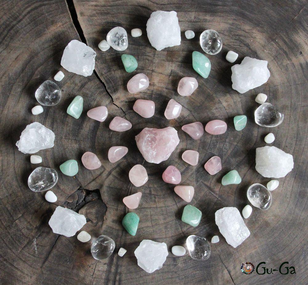 набор камней, розовый кварц