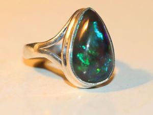 Кольцо опал чёрный натуральный Эфиопия -серебро 925%