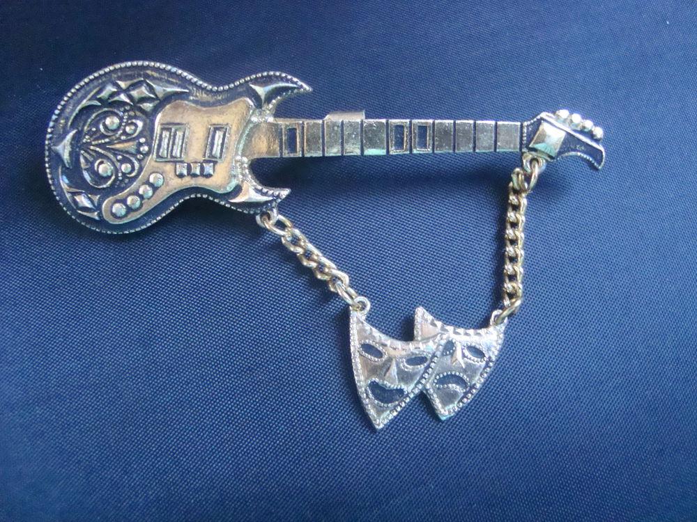 винтажная брошь, металлическая брошь, купить брошь гитара