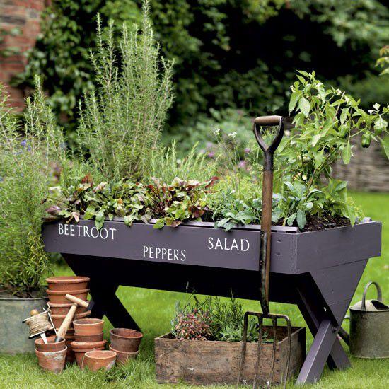 Garden planter with stencil lettering