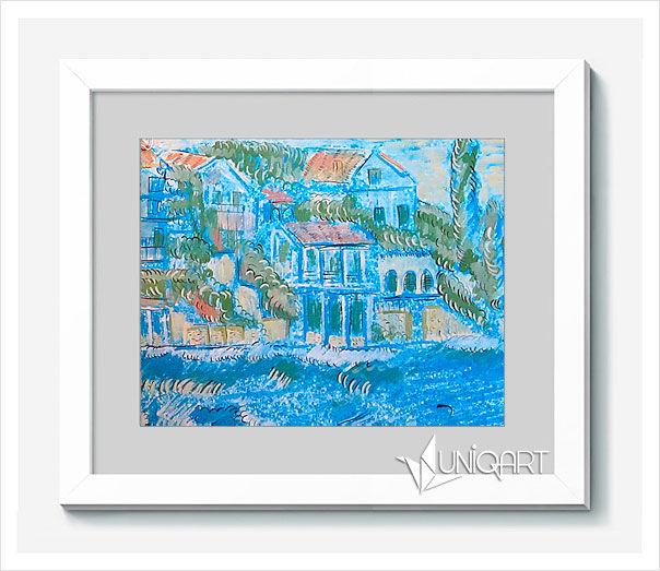 голубой, морская тематика, морская волна, лодка, исполнение желаний, картина в подарок