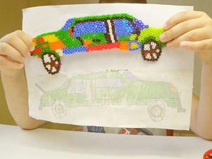 Мастерим игрушку по рисунку ребенка. Машинка из термомозаики. Ярмарка Мастеров - ручная работа, handmade.