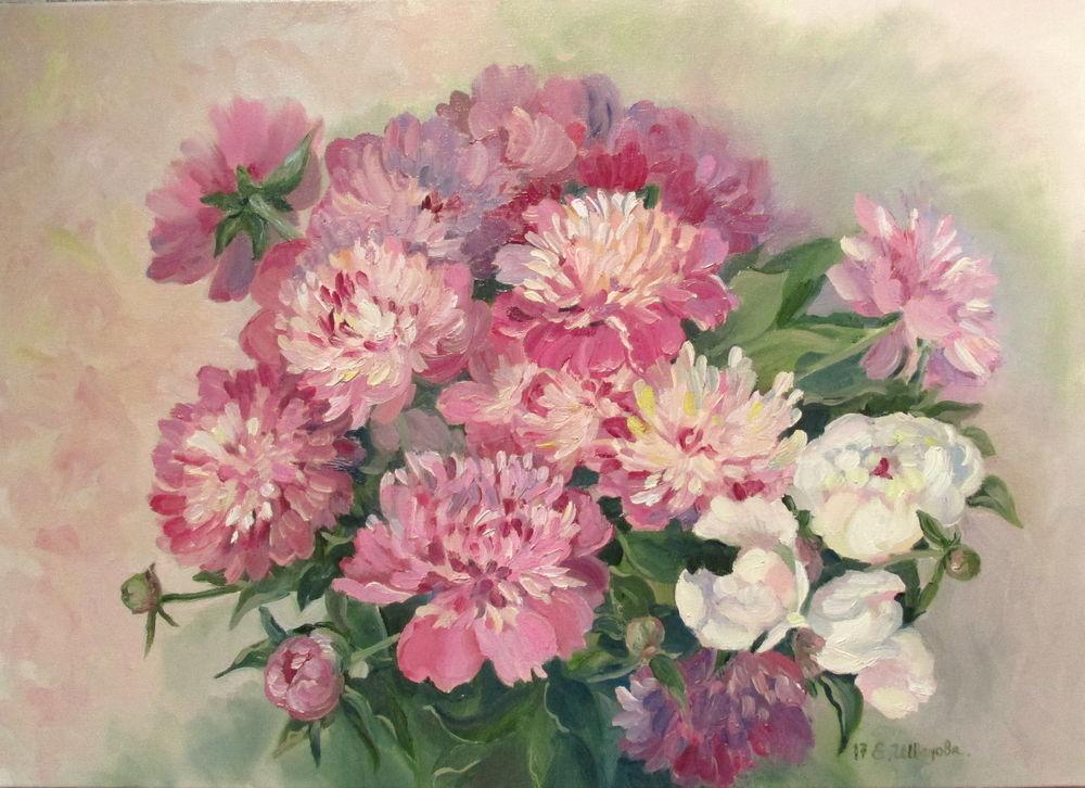 новая картина, картина маслом, картина цветы, пионы на картине, купить картину в москве, купить картину в подарок, живопись в радость, елена шведова, авторская ручная работа, красивая картина купить