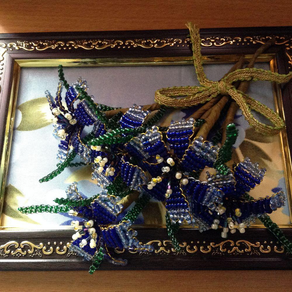 васильки, бисер, сувенир, ручная работа, бисерные цветочки, бисерная картина, изделия в подарок