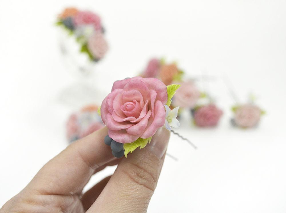 украшения с цветами, индивидуальный заказ, творим вместе, комплект шпилек