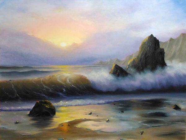 Мастер-класс по живописи маслом. Морской пейзаж. | Ярмарка Мастеров - ручная работа, handmade