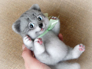 Котёнок из шерсти | Ярмарка Мастеров - ручная работа, handmade