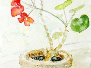 Пишем пошагово акварелью комнатное растение. Ярмарка Мастеров - ручная работа, handmade.