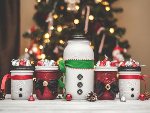 30 идей для новогоднего декора стеклянных банок   Ярмарка Мастеров - ручная работа, handmade