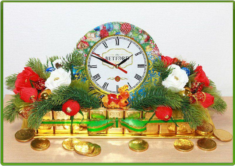 Новогодний будильник из конфет мастер класс