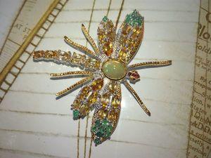 Новая изящная стрекоза с опалом и желтыми сапфирами!. Ярмарка Мастеров - ручная работа, handmade.