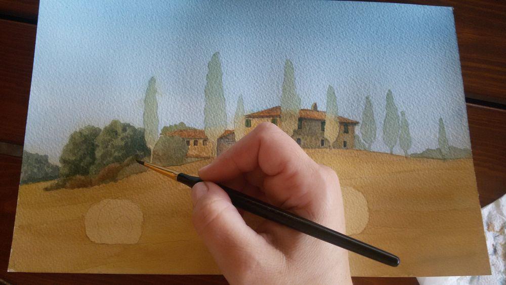 акварель, тоскана, италия, пейзаж, акварельная бумага