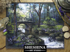 Видеоурок: рисуем пейзаж с мостиком через лесной ручей сухой пастелью. Ярмарка Мастеров - ручная работа, handmade.