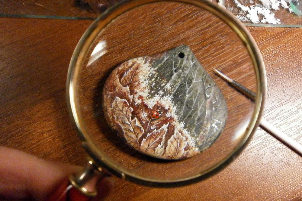 камни с росписью, елена кулемзина, агат, миниатюрная роспись