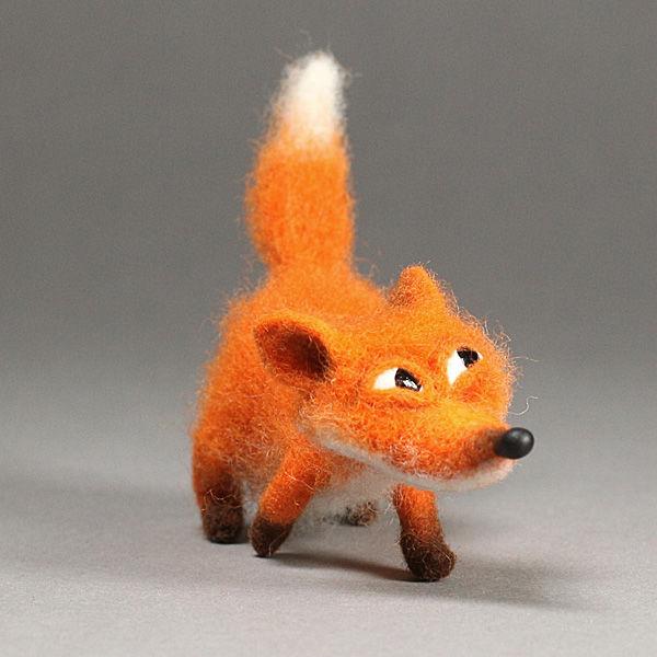 игрушка из шерсти, лиса