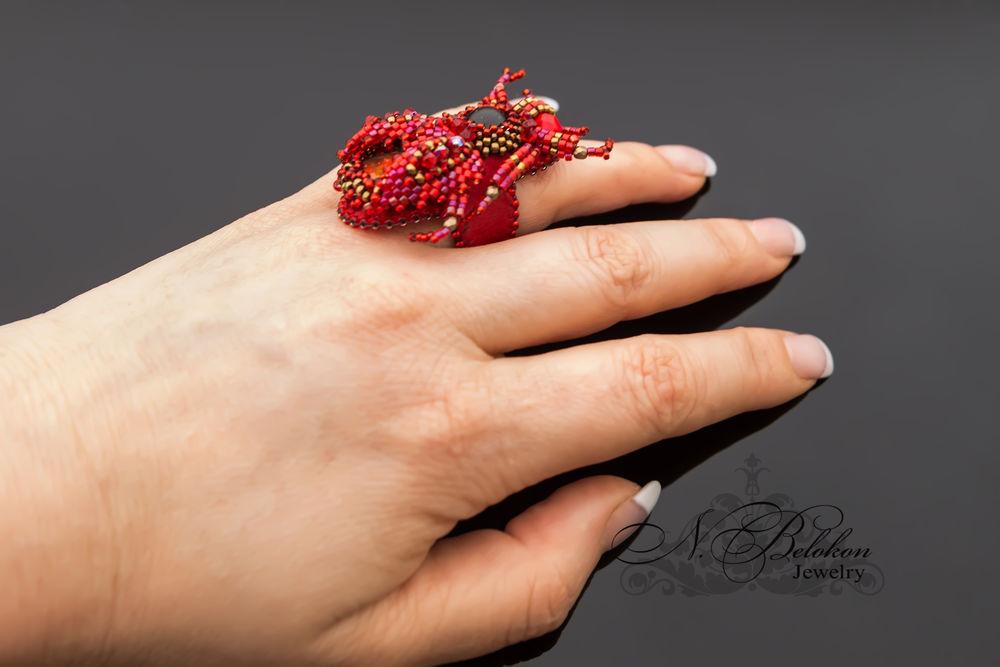 Огненный аммолитовый жучок колечко, фото № 8