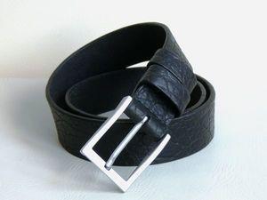 Акция! Ремень кожаный мужской «Бизон черный» со скидкой 15%!. Ярмарка Мастеров - ручная работа, handmade.