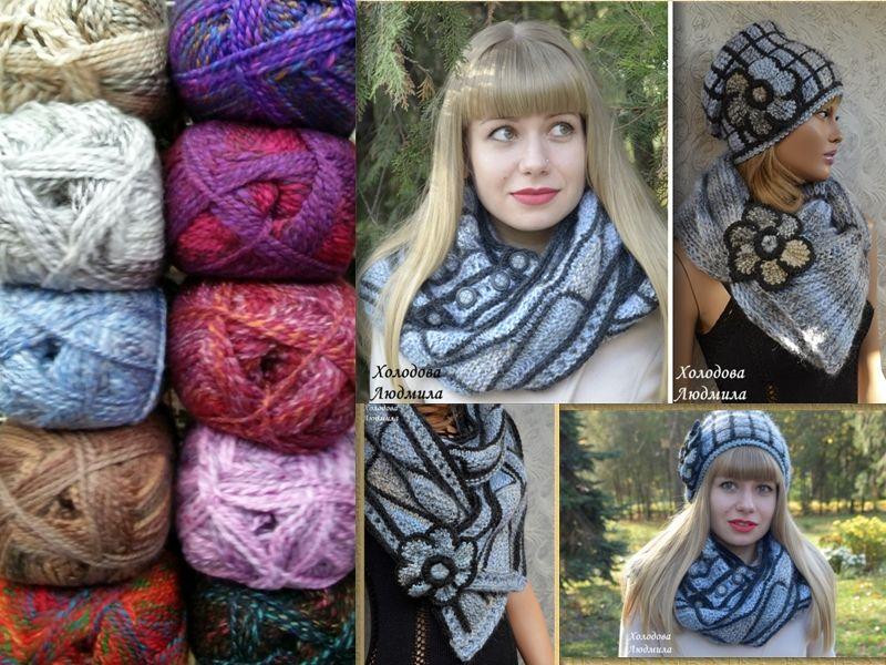 шапочка бини, шарф