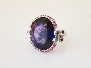 Видео кольца с аметрином и рубинами. Серебро 925 пробы. Ярмарка Мастеров - ручная работа, handmade.