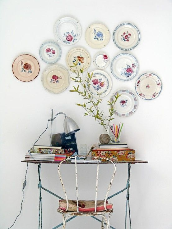 Vintage plates hung on wall