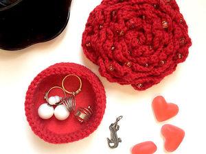 Вяжем шкатулку для украшений «Роза». Ярмарка Мастеров - ручная работа, handmade.