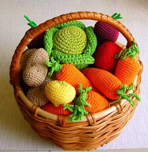 вязаные овощи, корзинка с овощами