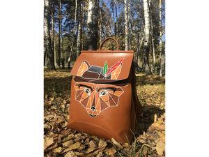 Кожаный рюкзак с ручной росписью - Лис. Ярмарка Мастеров - ручная работа, handmade.