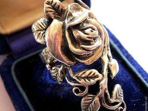 "АУКЦИОН: Винтажное серебряное кольцо ""Роза"", Ар-Нуво, Франция, 1970-е гг. Ярмарка Мастеров - ручная работа, handmade."