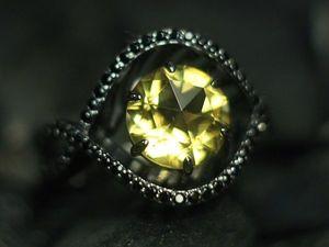 """Кольцо """"Solaris"""" с цитрином и черными бриллиантами. Ярмарка Мастеров - ручная работа, handmade."""