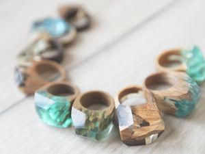 Кольца из дерева — 800 рублей. Ярмарка Мастеров - ручная работа, handmade.