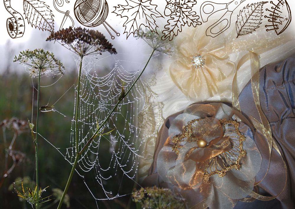 цветы из органзы, детское платье