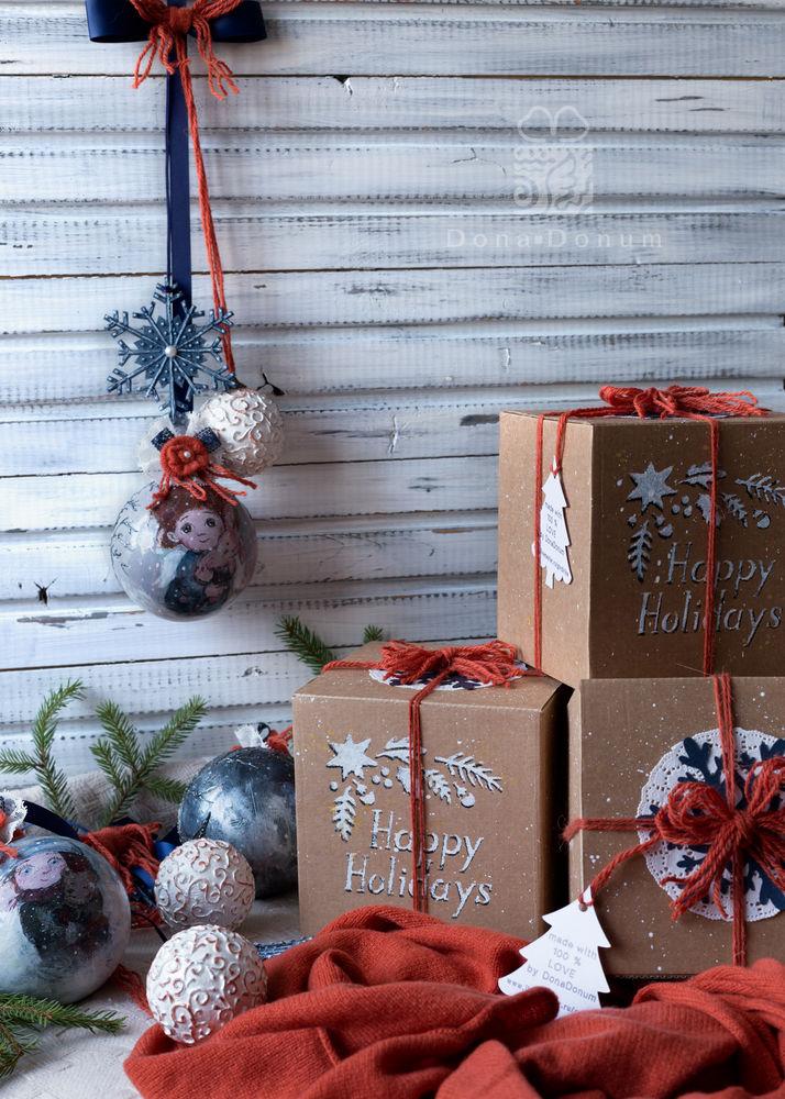 новогодгие подвески, синий, декор шара, оранжевый