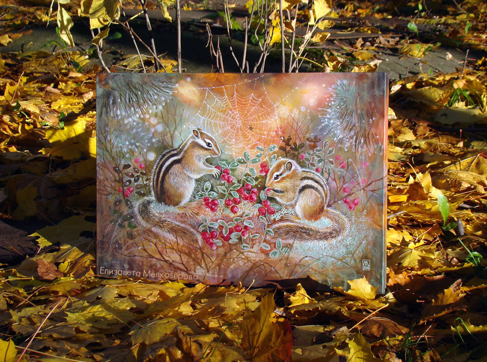брусничный маоиновый, живопись пейзаж животные, уют уютный теплый