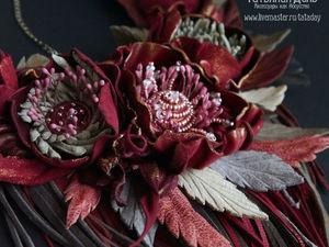 Комплект  «Бордо»  Колье, серьги и браслет из кожи. Ярмарка Мастеров - ручная работа, handmade.