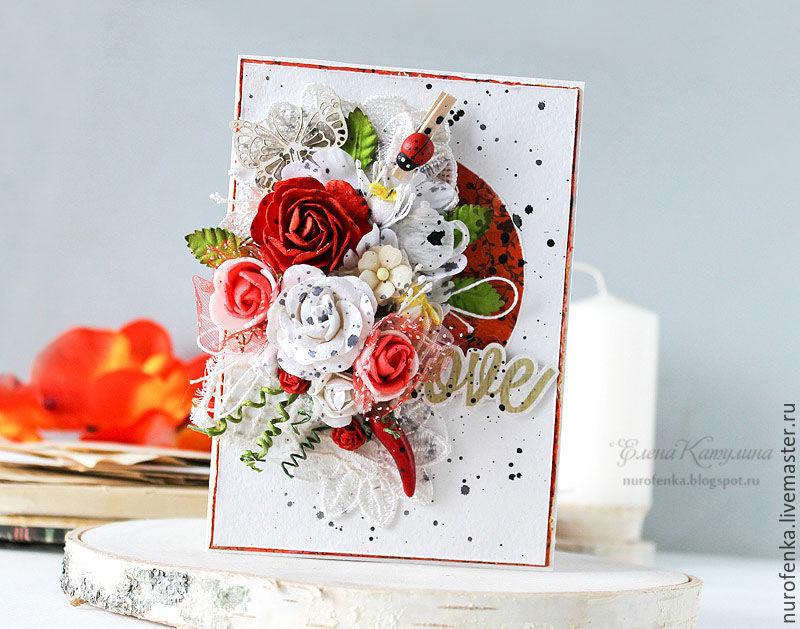 Маме, открытка скрапбукинг с красным цветком