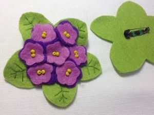 Getting Ready for Spring: A DIY Project on Creating a Felted Violet Brooch. Livemaster - handmade