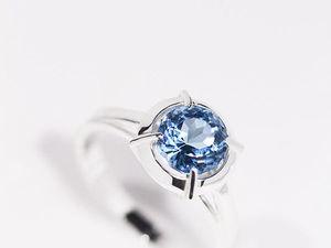 Серебряное кольцо с голубым топазом. Ярмарка Мастеров - ручная работа, handmade.