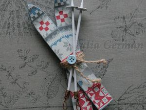 Делаем новогодний сувенир — миниатюрные лыжи | Ярмарка Мастеров - ручная работа, handmade