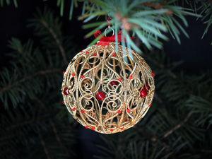 Делаем оригинальный елочный шар из проволоки | Ярмарка Мастеров - ручная работа, handmade