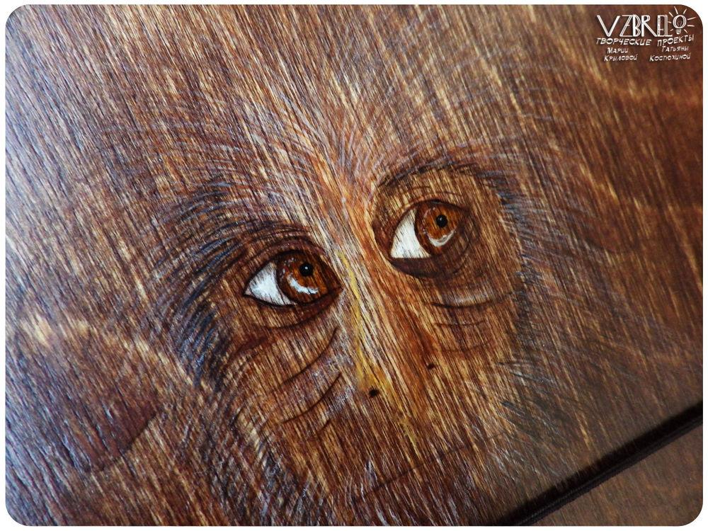 vzbrelo, блокноты из дерева, лиса, роспись по дереву, блокноты