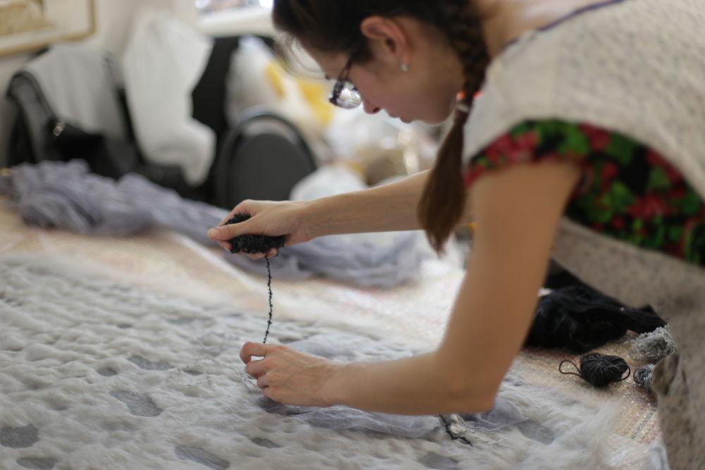 мк по валянию, валяное платье, как свалять юбку, обучение новичков