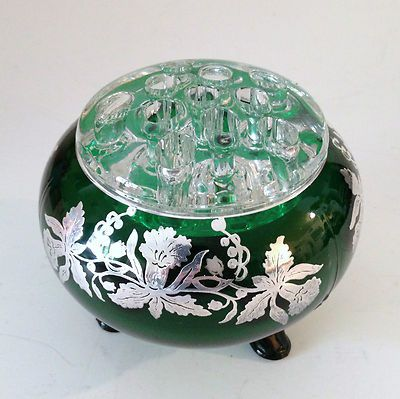 Green Viking Glass Rose Bowl Flower Frog Vase Sterling Silver Daffodil Overlay | eBay