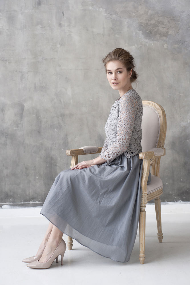 юбка, серый, серо-голубой