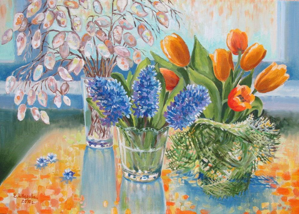 купить картину в москве, живопись маслом, солнечный день, букеты, яркие краски