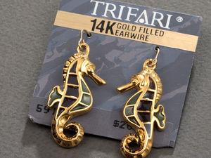 Видео. Серьги Морской конёк, Trifari, США, 80ые-90ые. Ярмарка Мастеров - ручная работа, handmade.