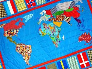 Лоскутное одеяло - КАРТА МИРА - очень красочный пэчворк. | Ярмарка Мастеров - ручная работа, handmade