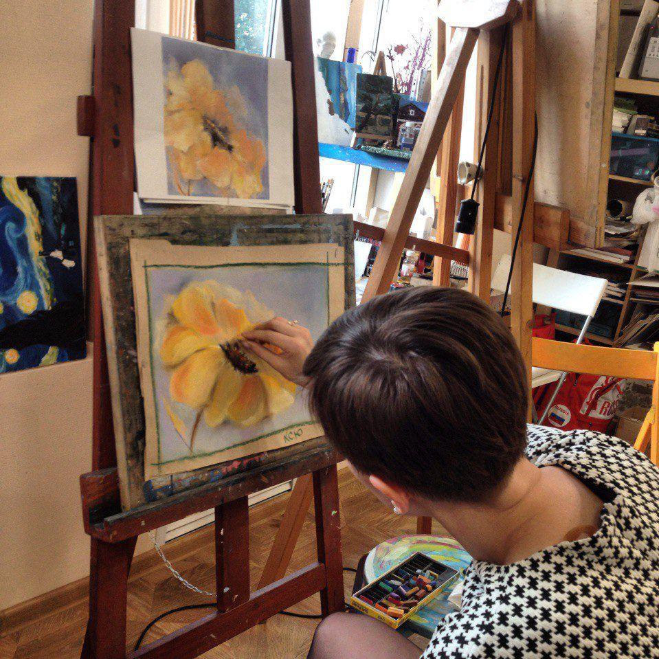 желтый, мастер-класс, рисование для взрослых