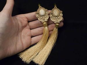МК Сутажные серьги кисти с яшмой и жемчугом Swarovski | Ярмарка Мастеров - ручная работа, handmade