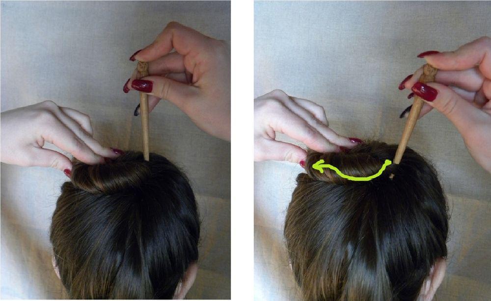 Как собрать волосы в пучок при помощи волшебной палочки, фото № 5
