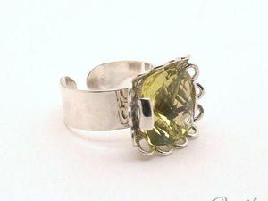 Серебряное кольцо с цитрином Лимонный щербет (видео). Ярмарка Мастеров - ручная работа, handmade.